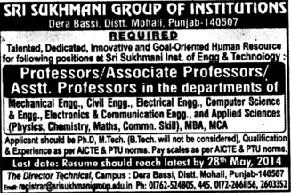 Asstt Professor for Electrical Engineering (Sri Sukhmani Group of Institutes)