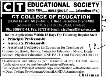 Principal and Associate Professor (CT College of Education)