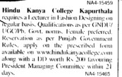 Lecturer in Fashion Designing (Hindu Kanya College)