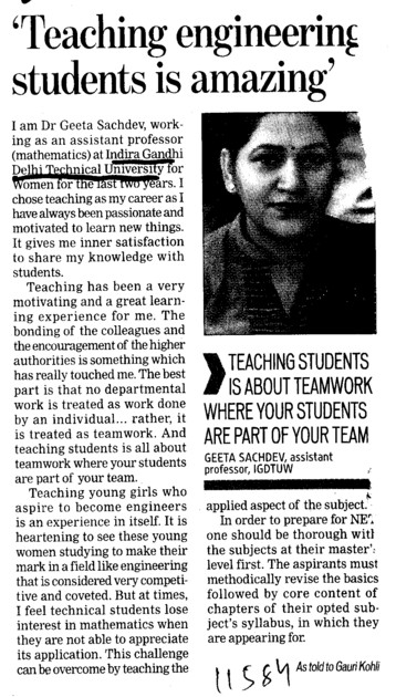 Teaching engineering students is amazing (Indira Gandhi Delhi Technical University for Women (IGDTUW IGIT))