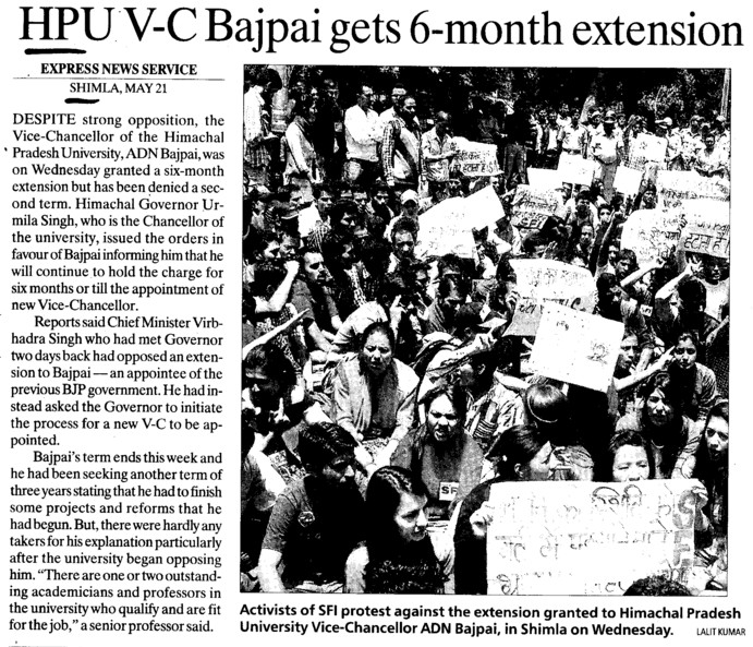 HPU VC Bajpai gets 6 month extension (Himachal Pradesh University)
