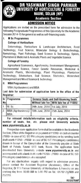 MBA in Agri Business (Dr Yashwant Singh Parmar University of Horticulture and Forestry)