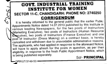 Instructors for Marketing Executive (Industrial Training Institute (ITI Women))