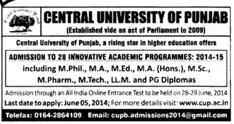Innovative Academic Programme 2014 (Central University of Punjab)
