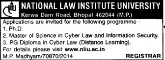 Master of Science in Cyber law (National Law Institute University (NLIU))