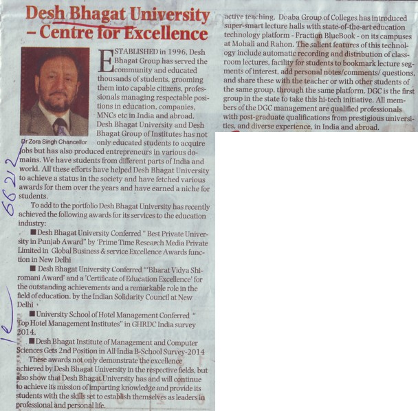 Chancellor Zora Singh message to DBU (Desh Bhagat University)