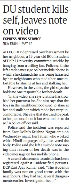 DU student kills self, leaves note on video (Delhi University)