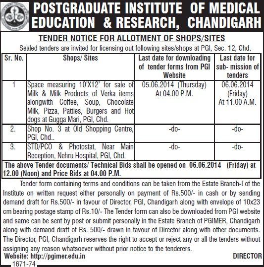 Sale of milk products (Post-Graduate Institute of Medical Education and Research (PGIMER))