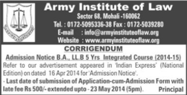 BA and LLB Programme (Army Institute of Law)