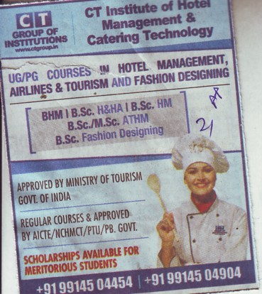 BHM and BSc in Fashion Designing (CT Institute of Hotel Management and Catering Technology)
