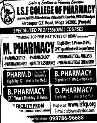 M Pharmacy (ISF College of Pharmacy)