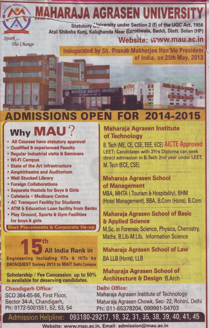 B Tech in CSE and ME (Maharaja Agrasen University)