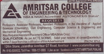 Asstt Placement officer (Amritsar College of Engineering and Technology ACET Manawala)