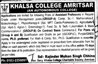 Asstt Professor on regular basis (Khalsa College)
