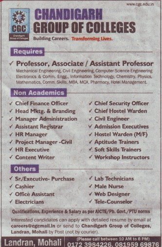 Chief Finance Officer (Chandigarh Group of Colleges)