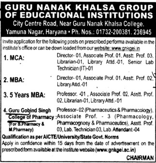 Director and Library Attendant (Guru Gobind Singh College Of Pharmacy)