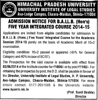 BA and LLB Programme (Himachal Pradesh University)