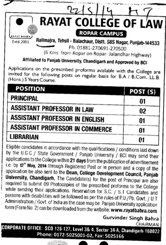 Asstt Professor in Law (Rayat College of Law)