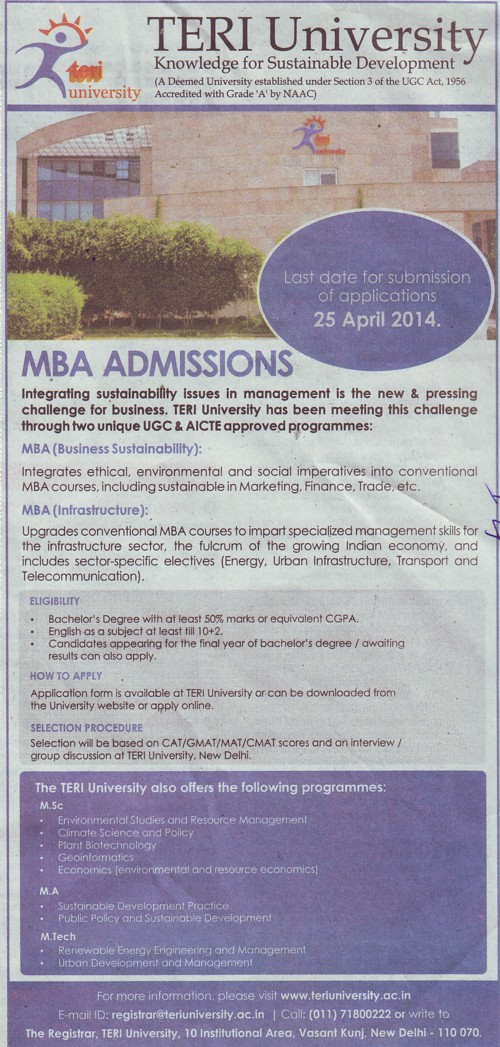 MBA in Business Sustainability (TERI University)