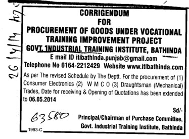 Procurement of Consumer Electronics (Govt Industrial Training Institute (ITI))
