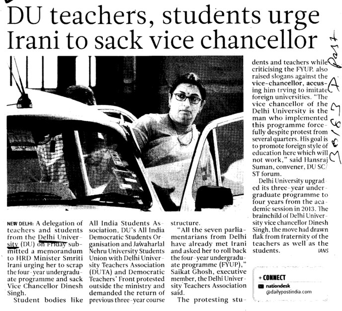 Du teachers students urge Irani to sack VC (Delhi University)