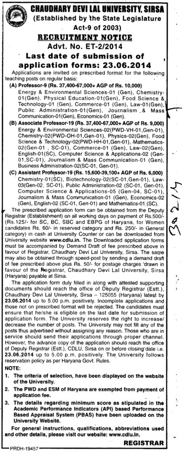 Associate Professor on regular basis (Chaudhary Devi Lal University CDLU)