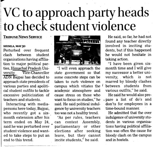 VC to approach party heads to check student violence (Himachal Pradesh University)