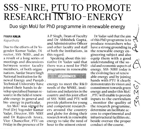 PTU to promote research in Bio Energy (IK Gujral Punjab Technical University PTU)