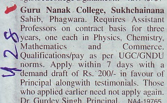 Asstt Professor on contract basis (Guru Nanak College)