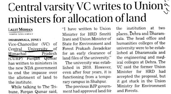 VC writes to Union ministers for allocation of land (Central University of Himachal Pradesh)
