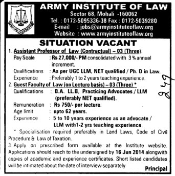 Asstt Professor in Law (Army Institute of Law)