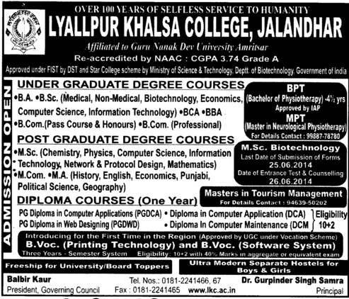 BA, BSc and MSc Programme (Lyallpur Khalsa College of Boys)