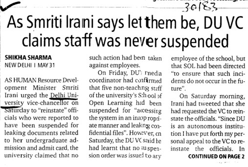 Smriti Irani says let them be, DU VC claims staff was never suspended (Delhi University)