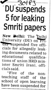 DU suspends 5 for leaking smriti paper (Delhi University)