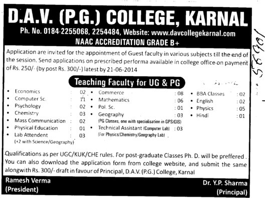 Teaching faculty for PCM and Pol Sc (DAV College)