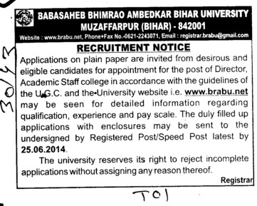 Experienced Director required (Babasaheb Bhimrao Ambedkar Bihar University)