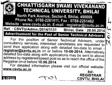 Senior Technical Advisor (Chhattisgarh Swami Vivekanand Technical University)
