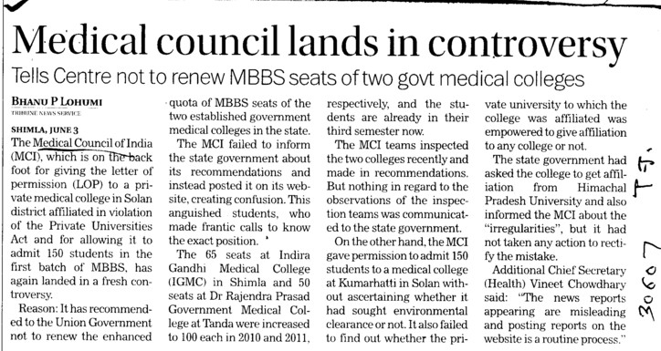 Medical Council lands in controversy (Medical Council of India (MCI))