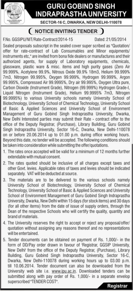 Supply of Laboratory equipments (Guru Gobind Singh Indraprastha University GGSIP)