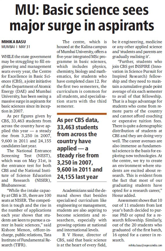 Basic science sees major surge in aspirants (University of Mumbai)