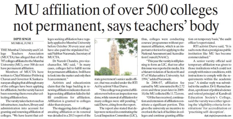 Affiliation over 500 colleges nor permanent (University of Mumbai)