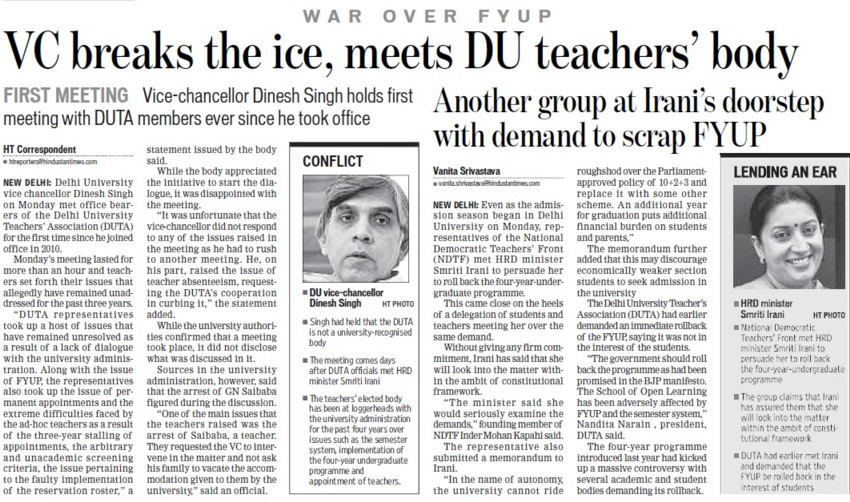 VC breaks the ice, meets DU teachers body (Delhi University)