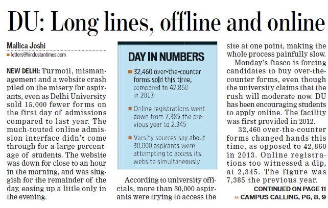 DU long lines, offline and online (Delhi University)