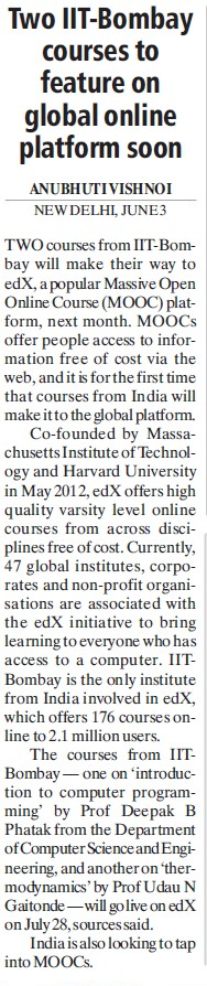 Courses to feature on global online platform soon (Indian Institute of Technology (IITB))