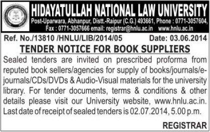 Supply of books (Hidayatullah National Law University (HNLU))