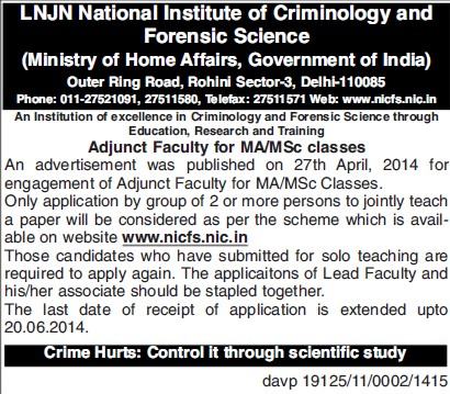 Faculty for MA and MSc (Lok Nayak Jayaprakash National Institute of Criminology and Forensic Science)