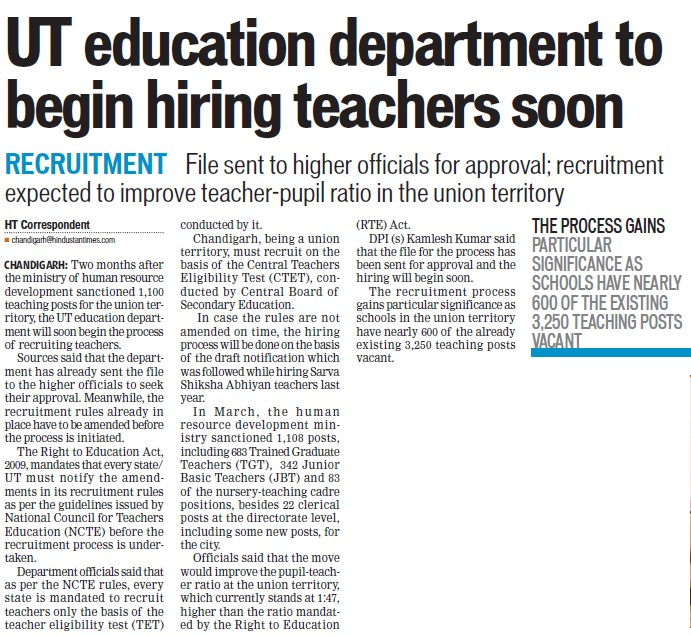 Education Deptt to begin hiring teachers soon (Education Department Chandigarh Administration)