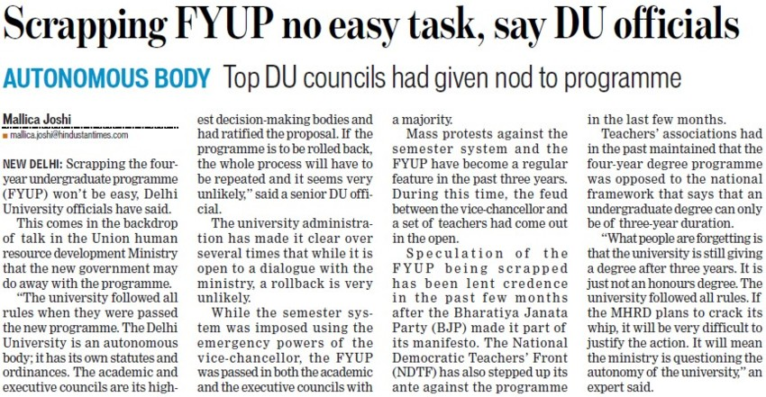 Scrapping FYUP no easy task, DU officials (Delhi University)
