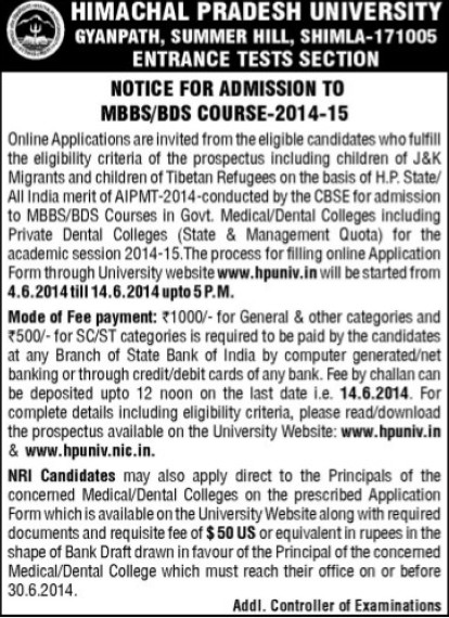 MBBS and BDS Programme (Himachal Pradesh University)