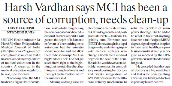 Harsh Vardhan says MCI has been source of corruption (Medical Council of India (MCI))